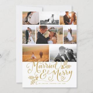 Married & Merry Multi-Photo Christmas Collage Holiday Card