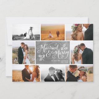 Married & Merry Multi-Photo Collage Holiday Chalk