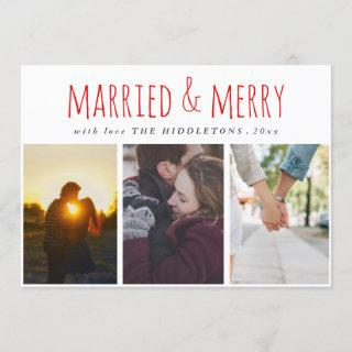 Married & Merry Red Script Three Photo Holiday