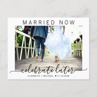 Married Now Celebrate Later Photo Wedding Announcement Postcard