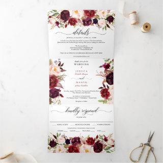Marsala Burgundy Wedding Tri-Fold Invitations