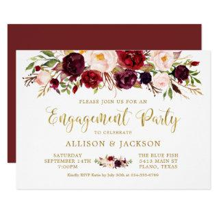 Marsala Floral Autumn Gold Engagement Party Card