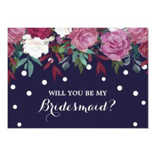 Marsala Floral on Navy Will You Be My Bridesmaid Invitation