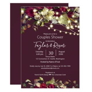 Marsala & Ivory Watercolor Roses Couples Shower Invitations