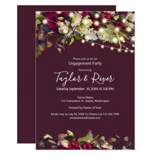 Marsala & Ivory Watercolor Roses  Engagement Party Invitations