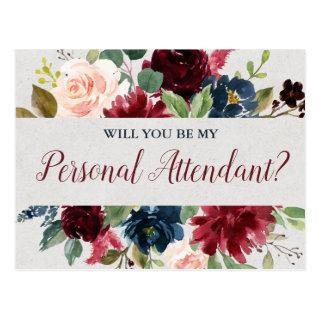 Marsala & Navy Floral Personal Attendant Proposal Postcard