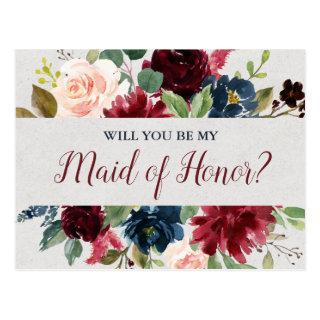 Marsala & Navy Wedding Floral Maid of Honor Postcard