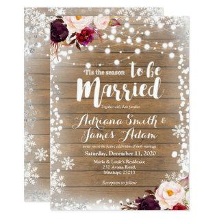 Marsala Winter Snowflakes Holiday Wedding Invitation