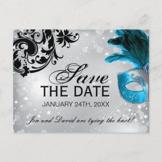 Masked Wedding Save the Date Announcement Postcard