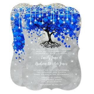 Mason Jar Blue Heart Leaf Tree Gray Watercolor Invitations