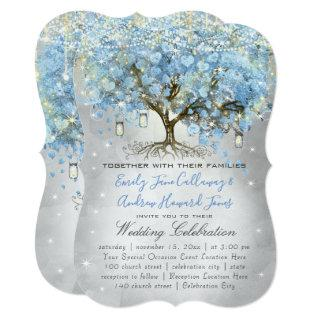 Mason Jar Blue Silver Heart Leaf Tree Fairy Lights Invitations