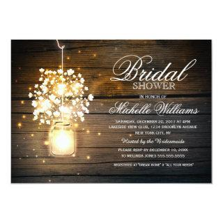 Mason Jar floral rustic bridal shower invitation