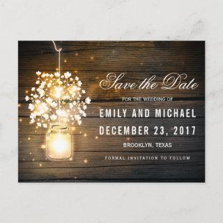 Mason Jar glowing Lights floral save the date Announcement Postcard