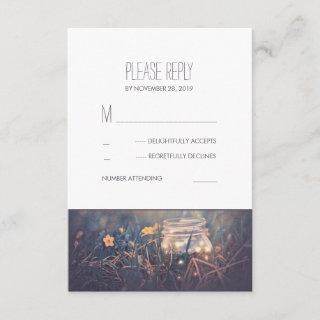 Mason Jar Lights Rustic Wedding RSVP Cards