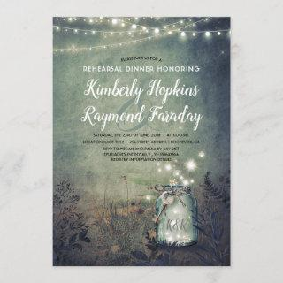 Mason Jar Lights Rustic Woodland Rehearsal Dinner Invitations