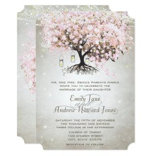 Mason Jar Pale Pink Heart Leaf Tree Wedding Invitations