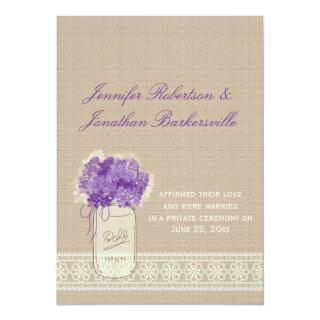 Mason Jar Purple Flowers Lace Post Wedding Invitations