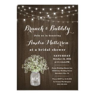 Mason Jar Rustic Brunch and Bubbly Bridal Shower Invitations