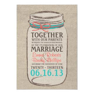 Mason Jar Rustic Wedding Invitation - Coral Teal