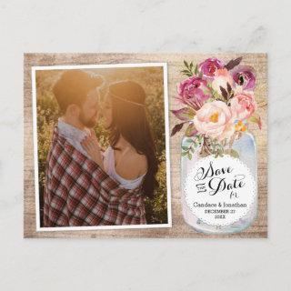 Mason Jar Watercolor Flowers Photo Save the Date Announcement Postcard