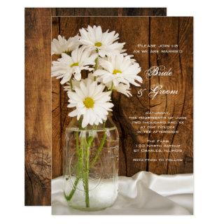 Mason Jar White Daisies Barn Wedding Invitations