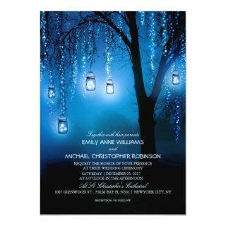 Mason Jars String Lights Elegant Rustic Wedding Invitation