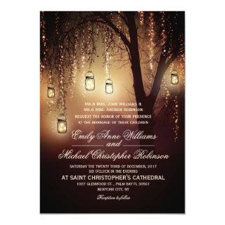 Mason Jars String Lights Elegant Rustic Wedding Invitations