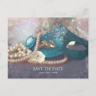 Masquerade Mask & Pearls Rainbow Save The Date Announcement Postcard