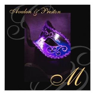 Masquerade Mask Purple Swirl Wedding Invitations