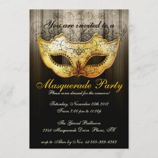 Masquerade Party Celebration Fancy Gold Invitations