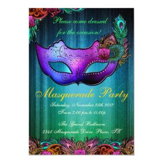 Masquerade Party Celebration Peacock Invitations