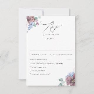 Mauve and Dusty Blue Floral Wedding RSVP