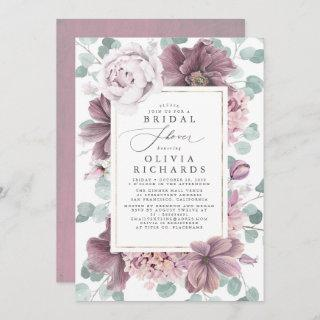Mauve Flowers and Greenery Elegant Bridal Shower Invitations