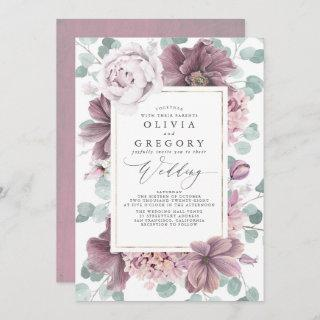 Mauve Flowers and Greenery Elegant Stylish Wedding Invitations