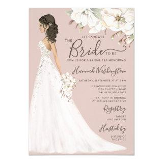 Mauve Magnolia Bride in Glitter Gown Bridal Tea Invitation