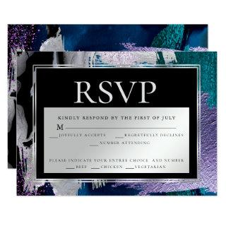 Meal Choice RSVP| Silver Aqua Lilac Paint Abstract Invitation