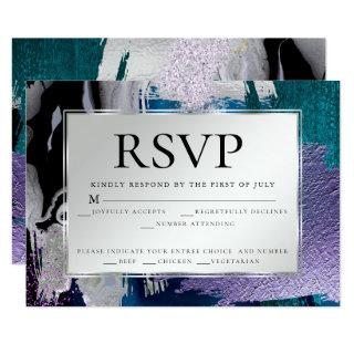 Meal Choice RSVP | Silver Metallic Teal Lilac Invitation