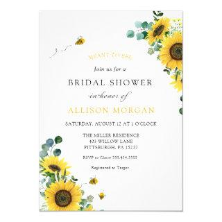 Meant to Bee Sunflower Bridal Shower Invitations