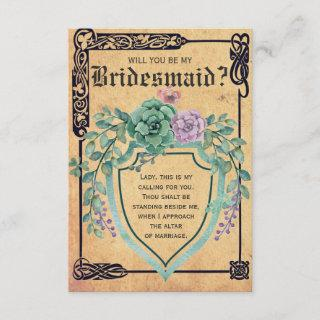 Medieval Celtic Flower Will you be my Bridesmaid? Invitation