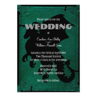 Medieval Dragon Sword Vintage Wedding Invitation