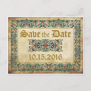 Medieval Manuscript Goth Save the Date Announcement Postcard