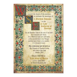 Medieval Manuscript Wedding Invitation Card