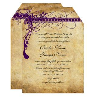 Medieval Renaissance Purple Faux Parchment Invitation