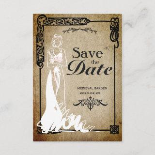 Medieval Save the Date bride