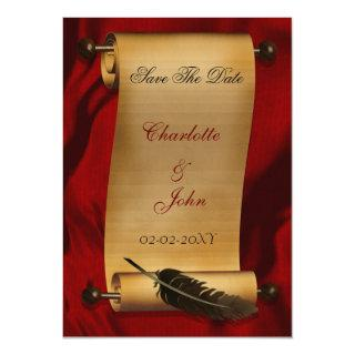 medieval scroll vintage save the date announcement