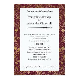 Medieval Sword Elegant Tabletop Gamer Wedding Invitations