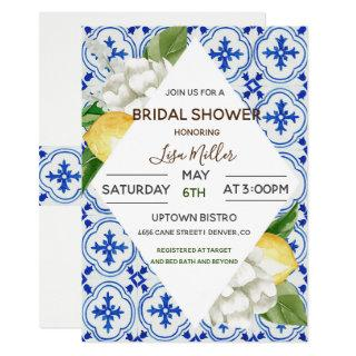 Mediterranean Lemon Floral Bridal Shower Invitations