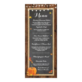 Menu Wedding Reception Rustic Wood Pumpkin Fall Invitation