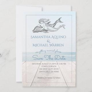 Mermaid And Dolphin Beach Lake Wedding Save The Date