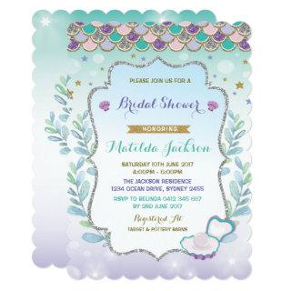 Mermaid Bridal Shower Invitations Beach Ocean Party